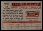 1956 Topps #32  Dorne Dibble  Back Thumbnail