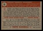 1952 Topps #46 RED Gordon Goldsberry  Back Thumbnail