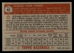 1952 Topps #62 RED Chuck Stobbs  Back Thumbnail