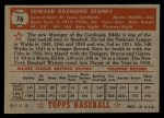 1952 Topps #76 RED Eddie Stanky  Back Thumbnail