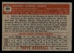 1952 Topps #207  Mickey Harris  Back Thumbnail