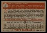 1952 Topps #47  Willie Jones  Back Thumbnail