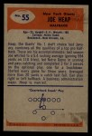 1955 Bowman #55  Joe Heap  Back Thumbnail