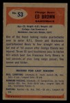 1955 Bowman #53  Ed Brown  Back Thumbnail