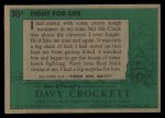 1956 Topps Davy Crockett #30 GRN  Fight For Life  Back Thumbnail