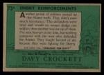 1956 Topps Davy Crockett #73 GRN  Enemy Reinforcements  Back Thumbnail