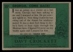 1956 Topps Davy Crockett #58 GRN  Georgie Come Back Back Thumbnail