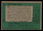 1956 Topps Davy Crockett #16 GRN  Fighting Fury  Back Thumbnail