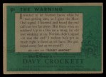 1956 Topps Davy Crockett #9 GRN  The Warning  Back Thumbnail
