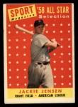 1958 Topps #489   -  Jackie Jensen All-Star Front Thumbnail