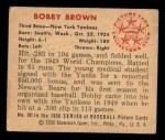 1950 Bowman #101  Bobby Brown  Back Thumbnail