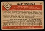 1953 Bowman #147  Clem Koshorek  Back Thumbnail
