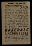 1952 Bowman #2  Bobby Thomson  Back Thumbnail