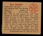 1950 Bowman #117  Bill Rigney  Back Thumbnail