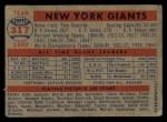 1957 Topps #317   Giants Team Back Thumbnail
