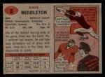 1957 Topps #8  Dave Middleton  Back Thumbnail
