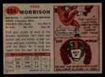 1957 Topps #154  Fred Morrison  Back Thumbnail
