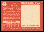 1958 Topps #5  Milt Plum  Back Thumbnail