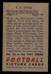 1951 Bowman #32  Y.A. Tittle  Back Thumbnail