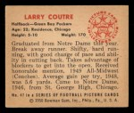 1950 Bowman #47  Larry Courtre  Back Thumbnail