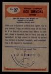 1955 Bowman #27  Jack Simmons  Back Thumbnail