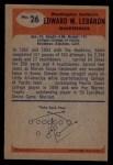 1955 Bowman #26  Eddie LeBaron  Back Thumbnail