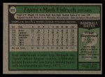 1979 Topps #625  Mark Fidrych  Back Thumbnail