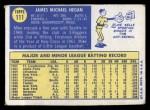 1970 Topps #111  Mike Hegan  Back Thumbnail