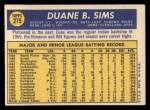 1970 Topps #275  Duke Sims  Back Thumbnail