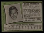 1971 Topps #191  Mike Andrews  Back Thumbnail