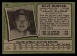 1971 Topps #178  Dave Duncan  Back Thumbnail