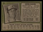 1971 Topps #94  Don Hahn  Back Thumbnail