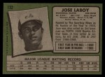 1971 Topps #132  Jose Laboy  Back Thumbnail