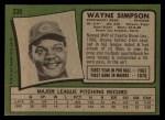 1971 Topps #339  Wayne Simpson  Back Thumbnail
