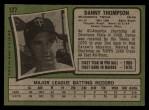 1971 Topps #127  Danny Thompson  Back Thumbnail