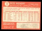 1964 Topps #51  Pete Richert  Back Thumbnail