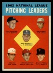 1963 Topps #7   -  Don Drysdale / Joey Jay / Art Mahaffey / Billy O'Dell / Bob Purkey / Jack Sanford NL Pitching Leaders Front Thumbnail