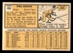 1963 Topps #494  Phil Regan  Back Thumbnail