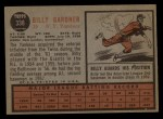 1962 Topps #338  Billy Gardner  Back Thumbnail