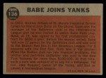 1962 Topps #136 A  -  Babe Ruth Babe Joins Yanks Back Thumbnail