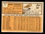 1963 Topps #21 ^xSTR^ Marty Keough  Back Thumbnail