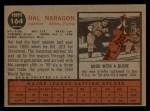 1962 Topps #164 NRM Hal Naragon  Back Thumbnail