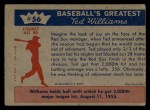 1959 Fleer #56   -  Ted Williams 2,000th Major League Hit Back Thumbnail