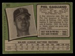 1971 Topps #302  Phil Gagliano  Back Thumbnail