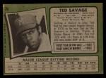 1971 Topps #76  Ted Savage  Back Thumbnail