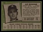 1971 Topps #162  Jack Billingham  Back Thumbnail