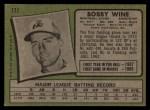 1971 Topps #171  Bobby Wine  Back Thumbnail