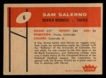1960 Fleer #6  Sam Salerno  Back Thumbnail
