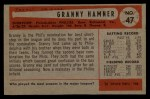 1954 Bowman #47 ALL Granny Hamner  Back Thumbnail