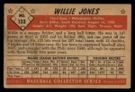1953 Bowman #133  Willie Jones  Back Thumbnail